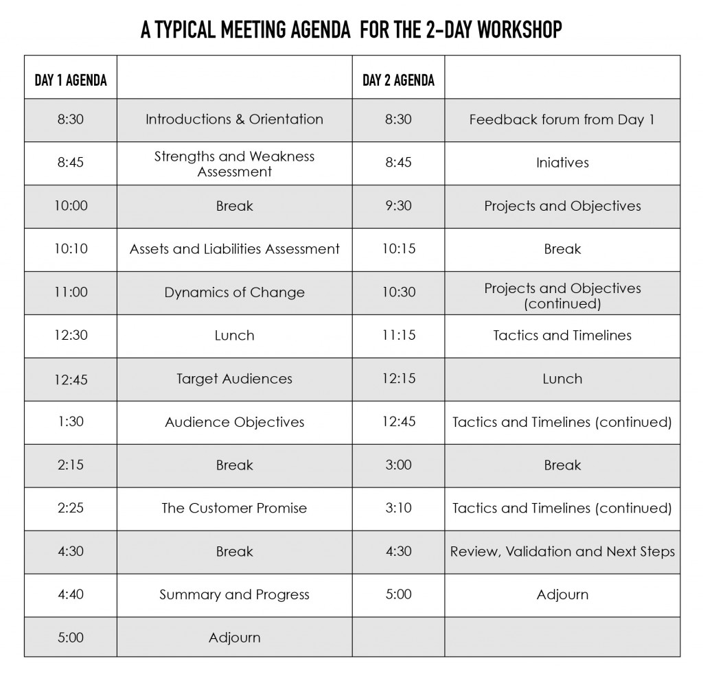 Agenda for 2-day strategy workshop with expert strategy consultants - GiraffeStrategy.com